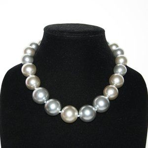 Chunky silver and tan pearl necklace